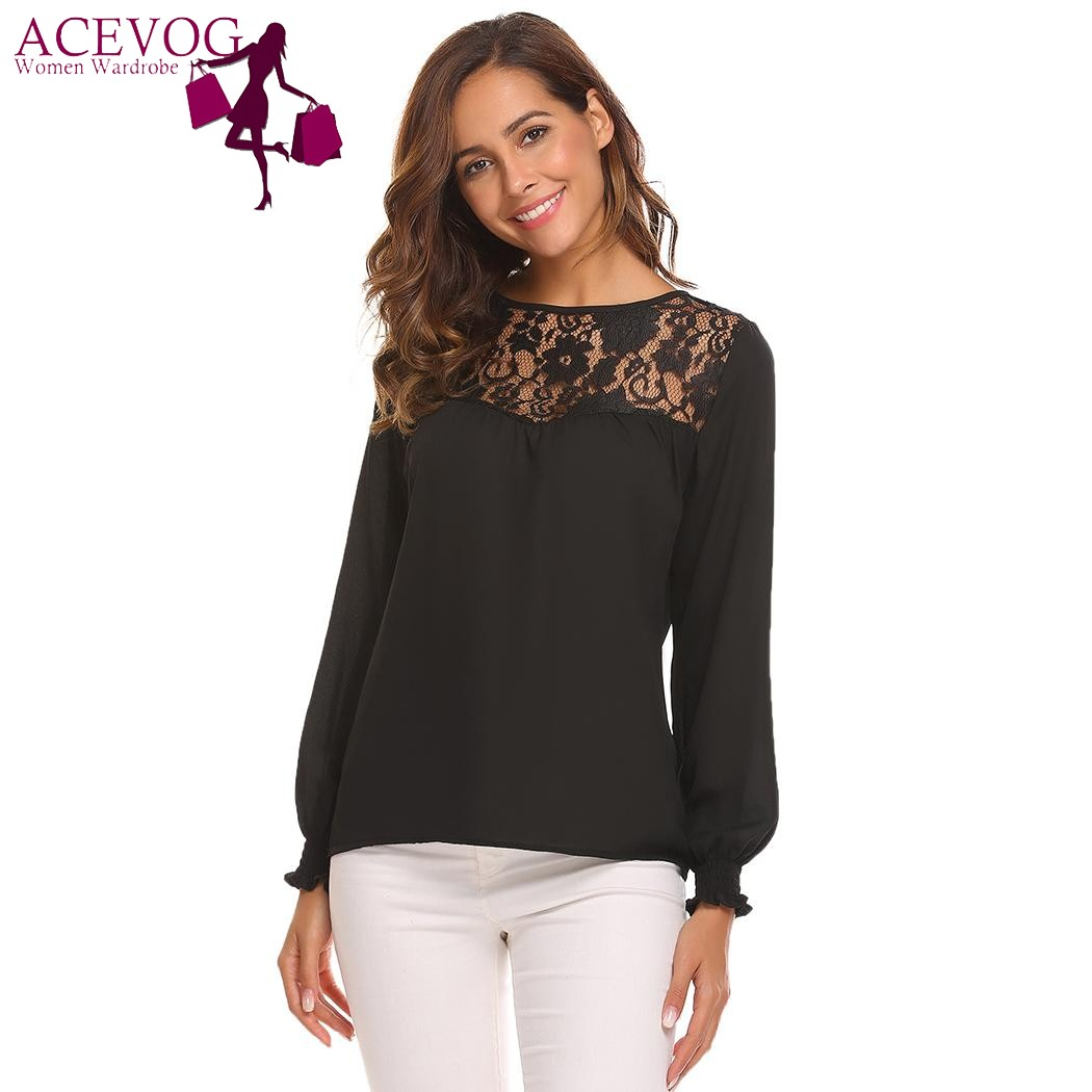 3e611543303 US $12.53 49% OFF|ACEVOG Women Chiffon Blouse Blusas Tops Spring Autumn  Vintage Lace Pactwork Ruffles Long Sleeve Party Pullover Female Shirt  Tees-in ...