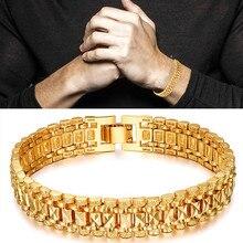 Men 5/10MM Golden Curb Chain Link Bracelet Hip hop Jewelry Gold Thick Heavy Copper Material Women