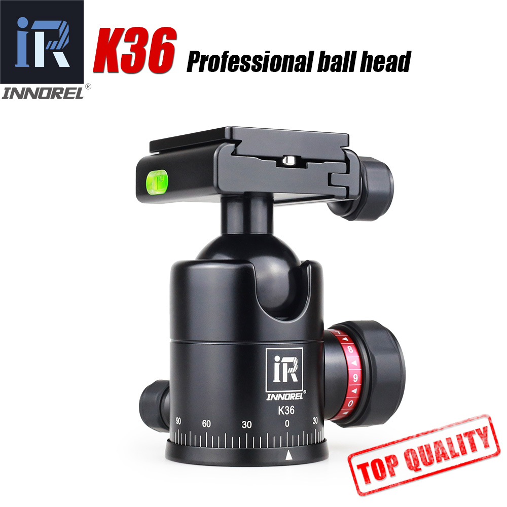 INNOREL K36 36mm ball Universal tripod head Aluminum Arca Swiss structure quick release plate Max. Load 12kg High locking force 50pcs lot wire hanger fastener hanging photo picture frame quick easy clutch release nickel plate movable head ceiling
