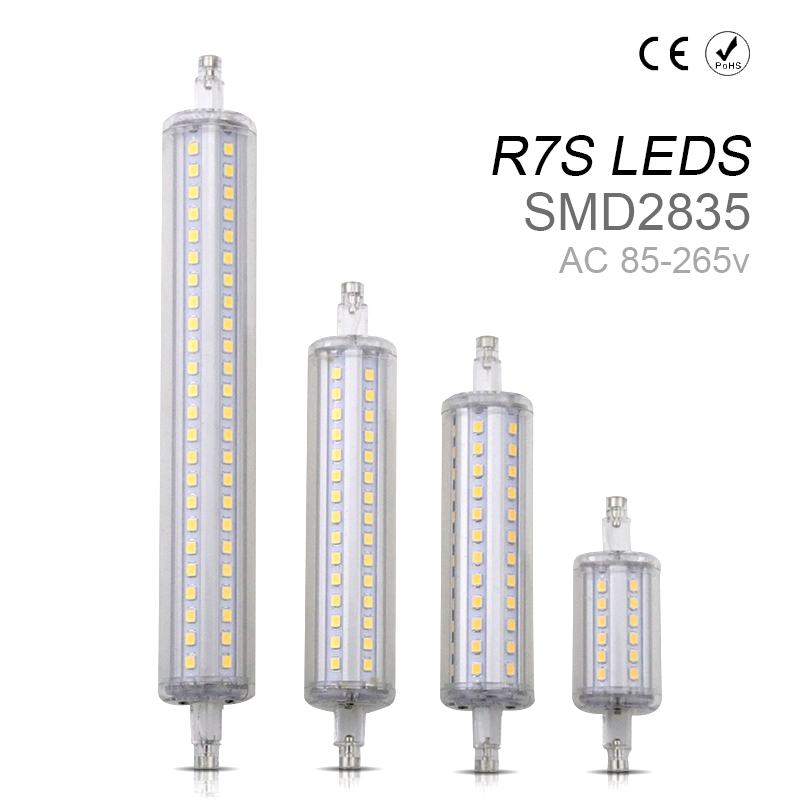 Aluminum R7S LED Tube 78mm 118mm AC85-265V LED Corn Light Bulb Replace Halogen Lamp No Flicker LED Horizontal Plug Tube For Lawn