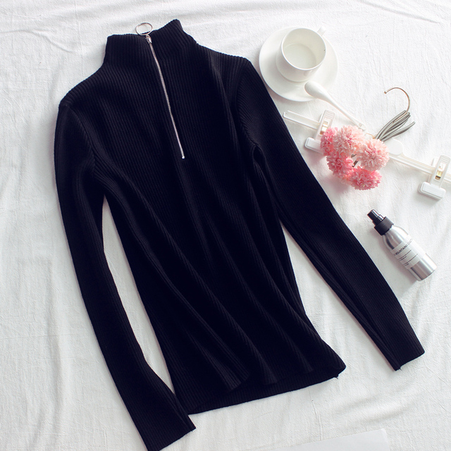 Zipper Turtleneck Solid Women Sweater Skinny Elastic Knitted Full Sleeve Pullover Feminino Soft Femme Spring Jumper High Quality