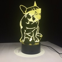 French Bulldog with Sunglass 3D LED Night Light Frenchie Dog