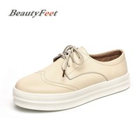 BeautyFeet 2018 Spring Women Sneakers Oxford Shoes Flats Shoes Women Leather Suede Lace Up Boat Shoes