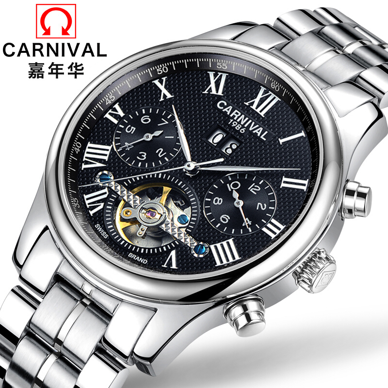 Genuine Carnival men watch automatic mechanical watches Tourbillon waterproof hollow stainless steel Mens Fashion Watch 2016 holuns watches men automatic mechanical watch hollow steel men s fashion business waterproof watch male table tourbillon