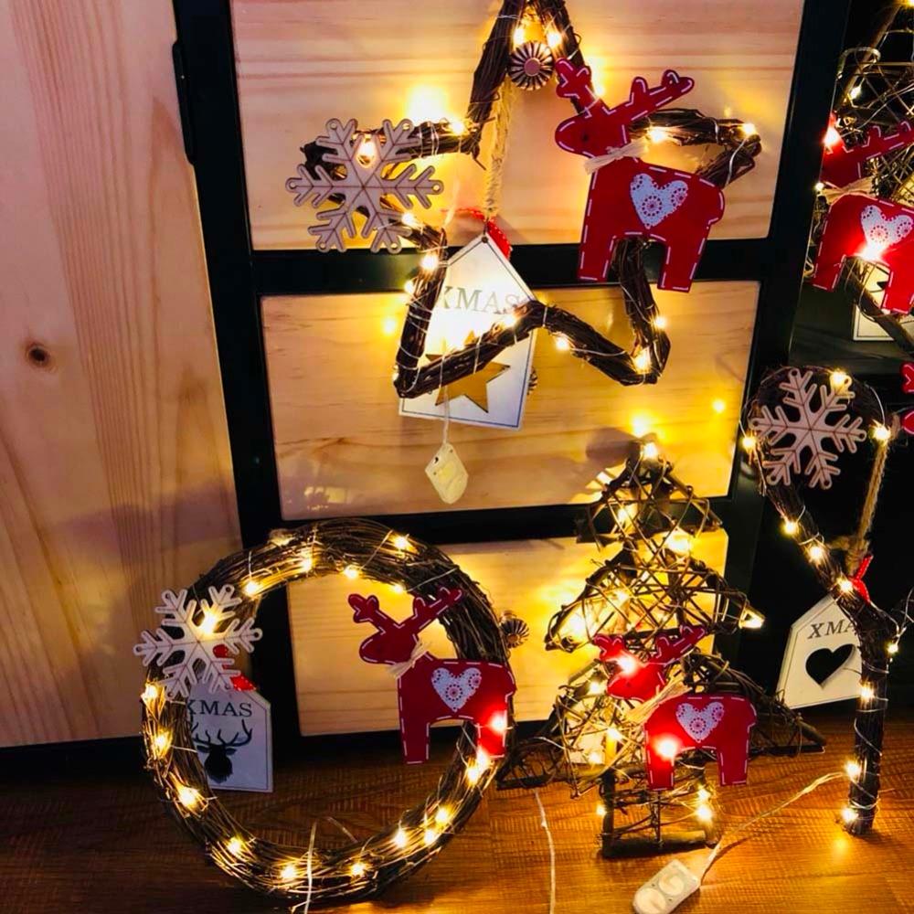 20led Light Christmas Handmade DIY Vines Rattan Light String Christmas Stars / Round / Heart / Tree Shape With Lights Decoration