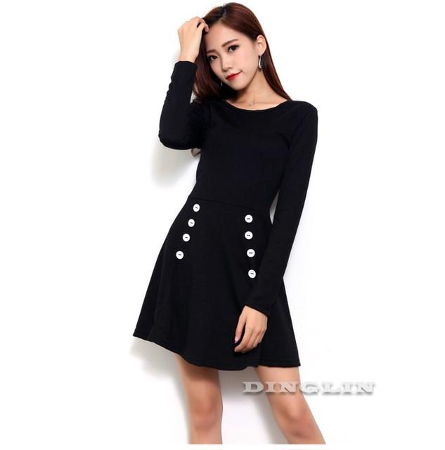 Casual 2017 Stylish Warm Dress Black Long Sleeve Button Round Neck Fashion Party Mini