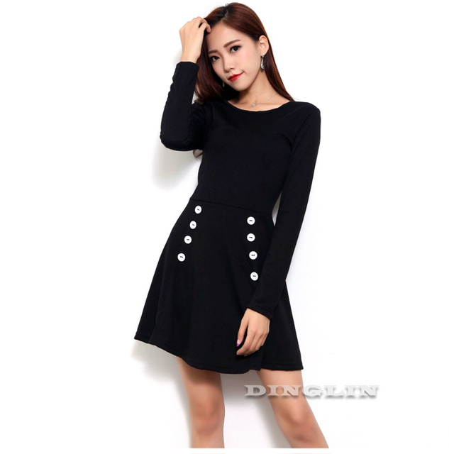 Casual 2017 Stylish Warm Dress Black Long Sleeve Button Round Neck Fashion Party Mini