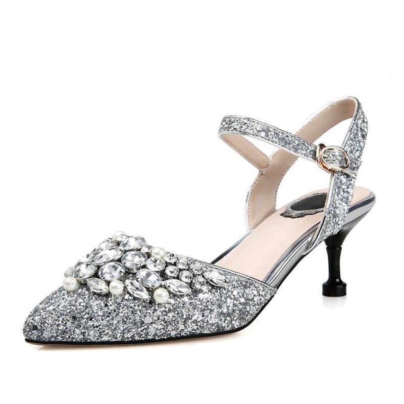 Femmes Paillettes Pour Sexy 2018 Pompes À Stylesowner Les Look Simples Beauté Silver Tissu Top Strass Talons Hauts Conception Mince Chaussures Avec ONn0wvm8