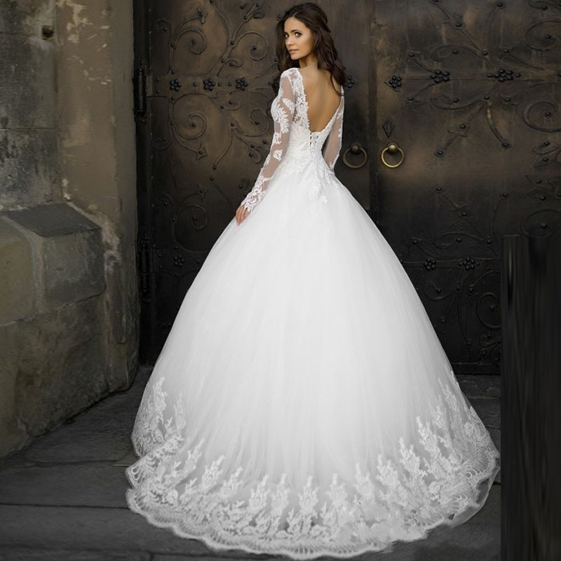 Simple Elegant Open Back Long Sleeve Wedding Dress: New Arrival Jewel Vintage Open Back A Line Long Sleeve