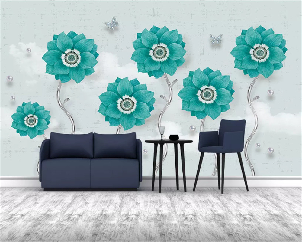 beibehang Custom classic wallpaper embossed jewelry flowers modern minimalist European background wall papers home decor behang in Wallpapers from Home Improvement