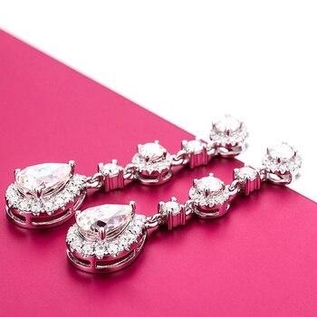 Classic Engagement Party Jewelry 18k White Gold Pear Shape Moissanite Diamond Wedding Long Dangle Earring for Women 3