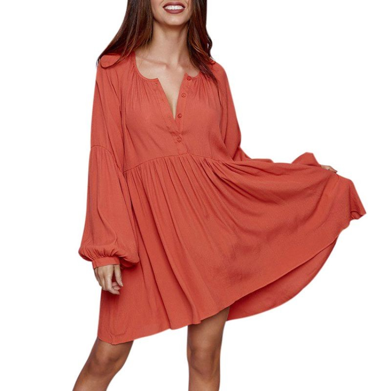 2018 Early Spring New Orange White Solid Women Cotton Dress Sexy V Collar Button Casual Dress Natural Waist Pleated Dresses