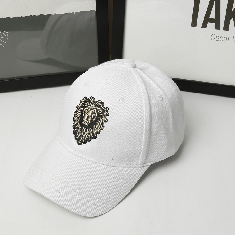 Lion Embroidery Pattern Baseball Cap Women Men Solid Color Cotton Hat Unisex Fashion Casual Adjustable Sunscreen Caps CP0115  (9)