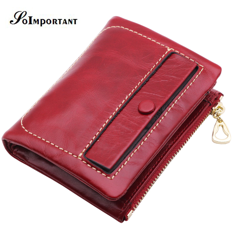Wallet Female Genuine Leather Oil Wax Women Wallets Coin Purse Portomonee Zipper Short Card Holder Wallet