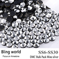 The Crafts Outlet DMC Hotfix Superior Quality Glass Round Mine silver Rhinestone Embellishment Size SS6 SS10 SS16 SS20 SS30