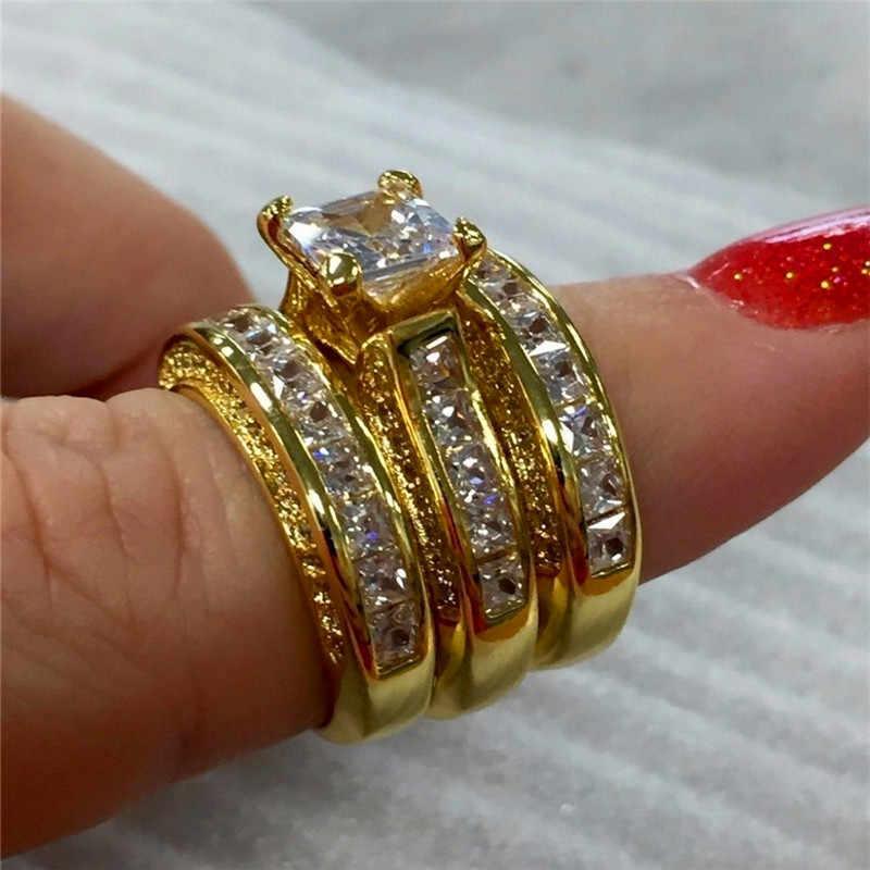 Nữ Dễ Thương 3 Zircon Cưới Bộ Nhẫn Pha Lê Bạc Màu Vàng Vàng Cô Dâu Nhẫn Hứa Nhẫn Đính Hôn Cho phụ Nữ