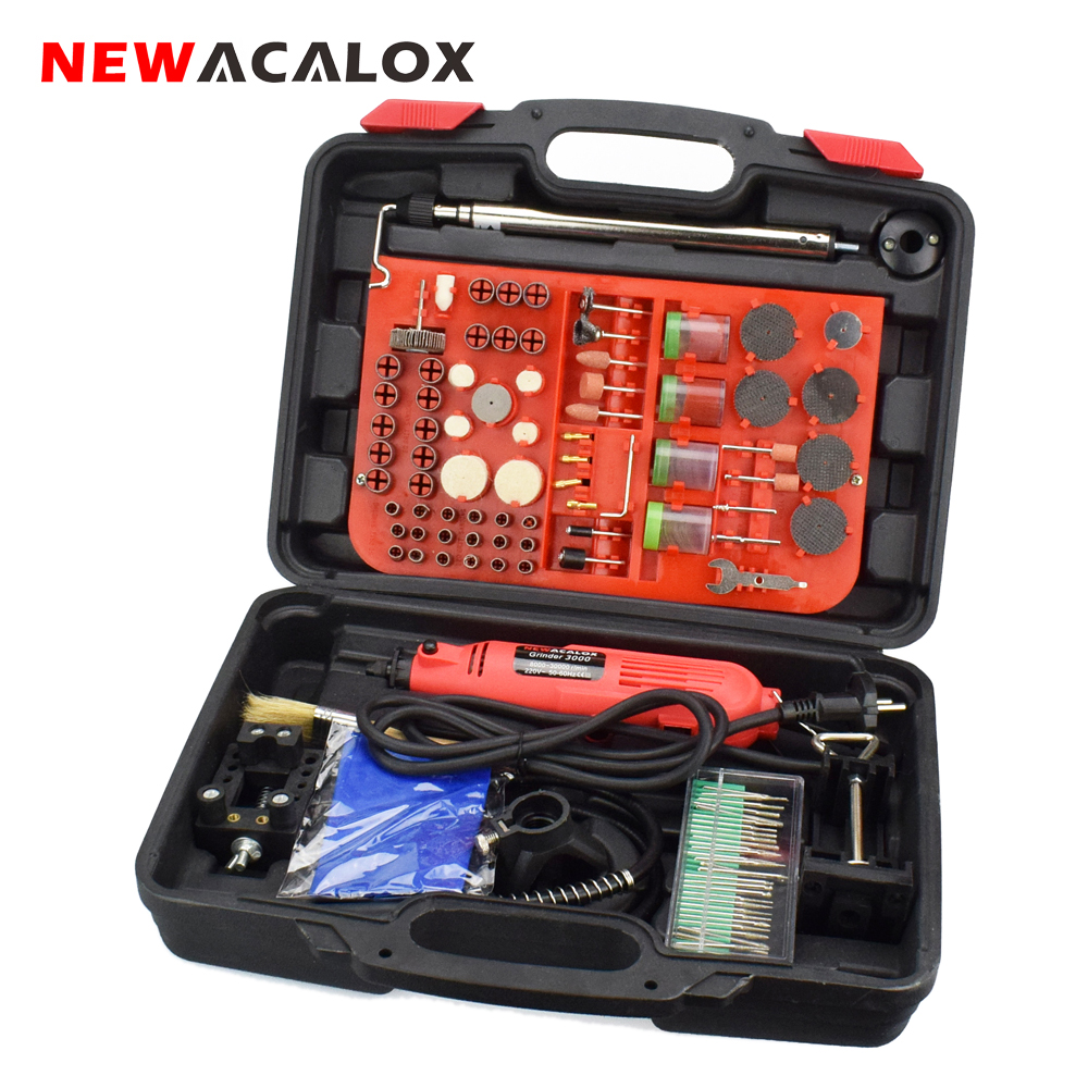 NEWACALOX 220V 260W 166PCS Mini Electric Drill Kit Power Tool Variable Speed Rotary Tool Grinder Engraver Machine Set Dremel Box цены