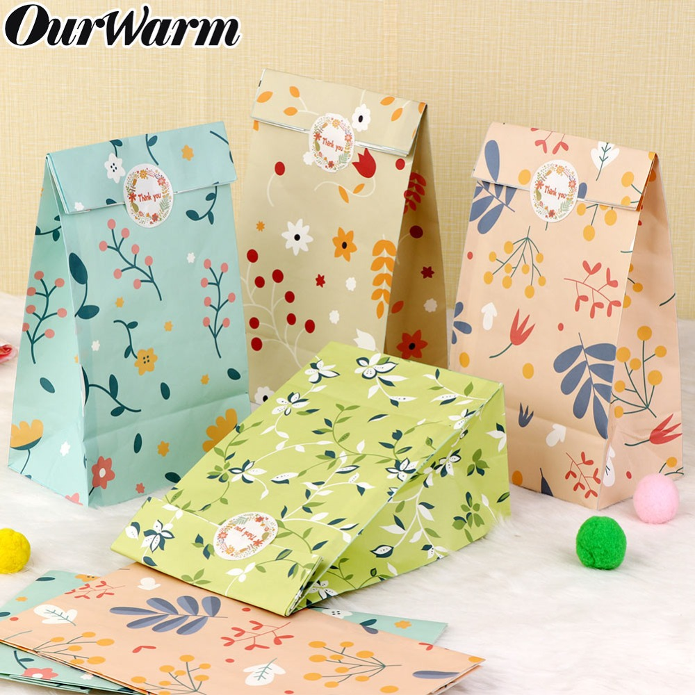 OurWarm 12pcs Flowers Paper Gift Bags Kid Birthday Decoration Candy Craft Paper Bags Watercolor Wedding Baby Shower Countryside