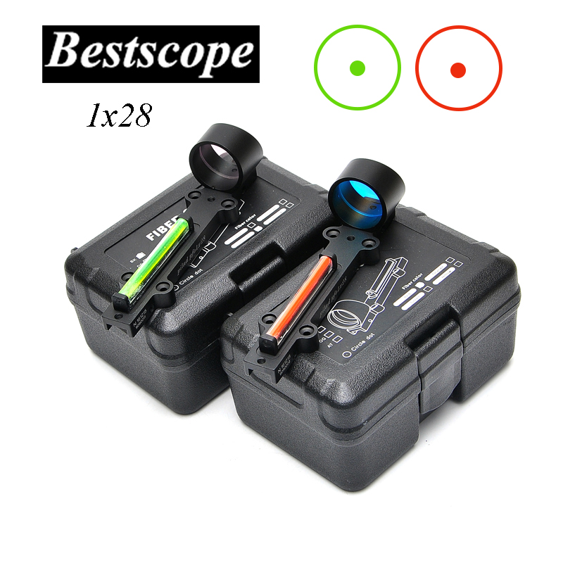 New Lightweight Red and Green Fiber 1x28 Red Dot Sight Hunting Scope Fit Shotguns Rib Rail Hunting Shooting-in Riflescopes from Sports & Entertainment