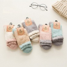 цена на socks women Winter Warm Sleep Bed Socks Floor Home Fluffy Fuzzy Socks Women Socks Funny Cute Art Harajuku Coral Fleece Floor Sox