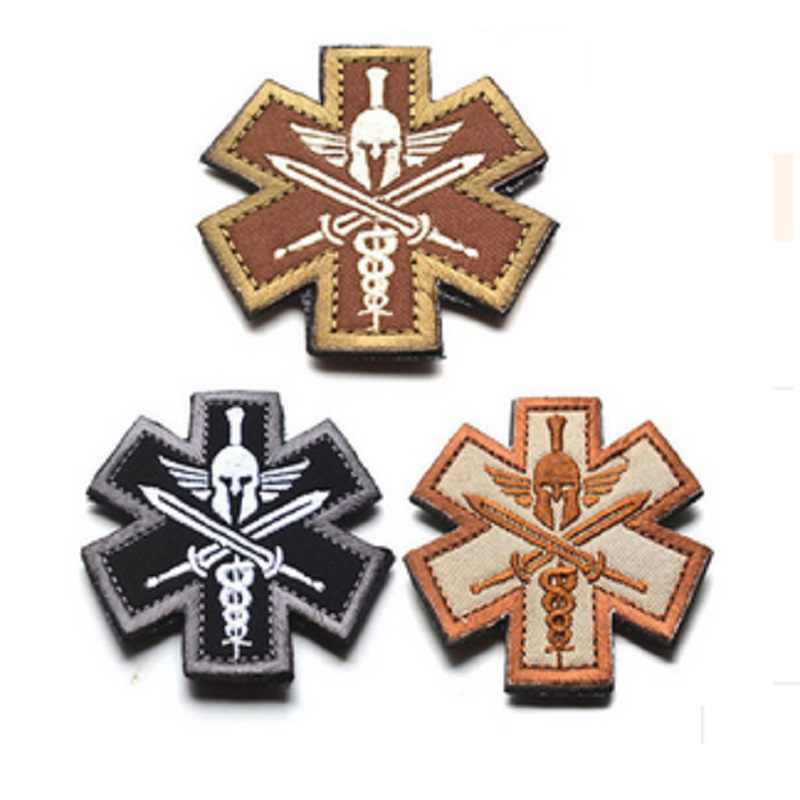 Field Medic patches 3D Spartan Medic patch Tactical Embroidered armband  Cloth Fashion Badges Military EMT Morale Badge Armband