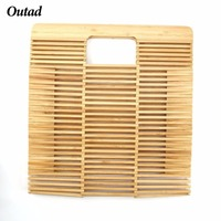 OUTAD Foldable Bamboo Handbag New Woven Handmade Women Top Handle Bag Beach Bag Travel Bags For