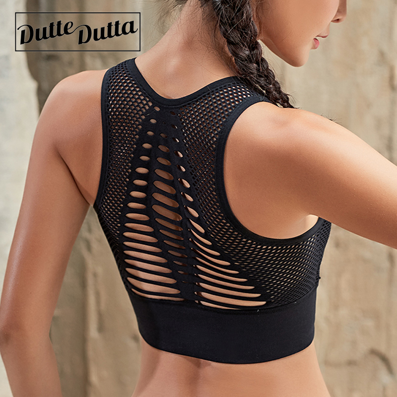 Duttedutta Sexy Hollow Out High Impact Sports Bra Mesh Back Workout Yoga Bra Tops Gym Fitness Running Brassiere Women Sport Bra crazyfit mesh hollow out sport tank top women 2018 shirt quick dry fitness yoga workout running gym yoga top clothing sportswear