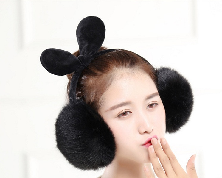 2019 New Casual Fashion Exquisite Simple Warm Earmuffs Female Winter Cute Rabbit Ears Bow Imitation Rabbit Hair Women's Earmuffs