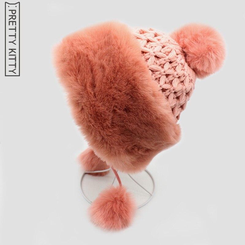 PRETTY KITTY 2017 Fur Hats Female Hair Fashion Fur Caps Autumn Winter Keep Warm Ear Cap Knitted Hat For Women Cap female caps for autumn