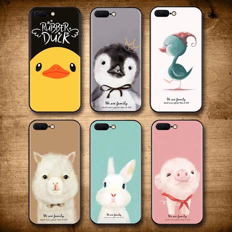 Étui pour animaux IIOZO pour iphone 7 8 6 6s plus dessin pingouin mouton lapin canard pour iPhone 8 coque de protection complète en plastique givré ...
