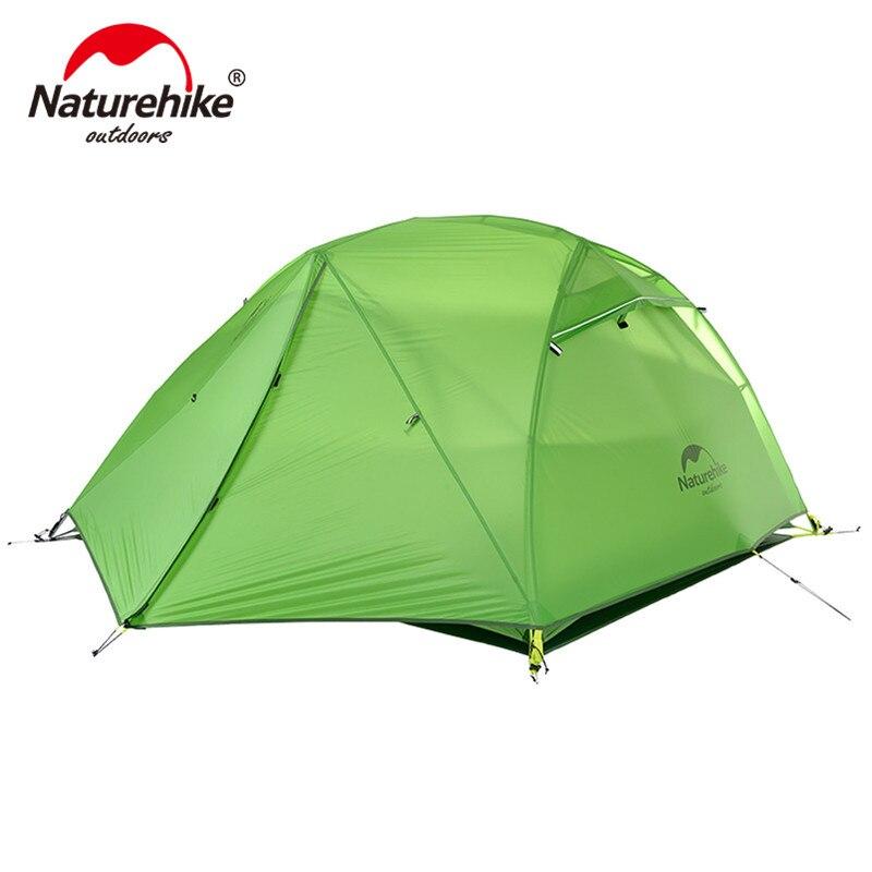 Nature randonnée étoile rivière tente 20D Silicone tissu ultraléger 2 personnes Double couches aluminium tige Camping tente avec tapis