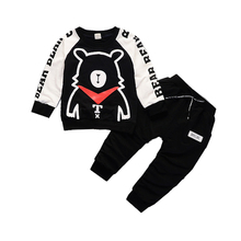 Fashion Spring Autumn Children Boys Girls Clothing Sets Baby Cartoon Bear T-shirt Pants 2Pcs/Sets Kids Cotton Tracksuits Clothes недорого