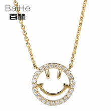 BAIHE Solid 14K Yellow Gold 0.13ct Certified H/SI 100% Genuine Natural Diamonds Women Trendy Fine Jewelry Elegant gift Necklaces