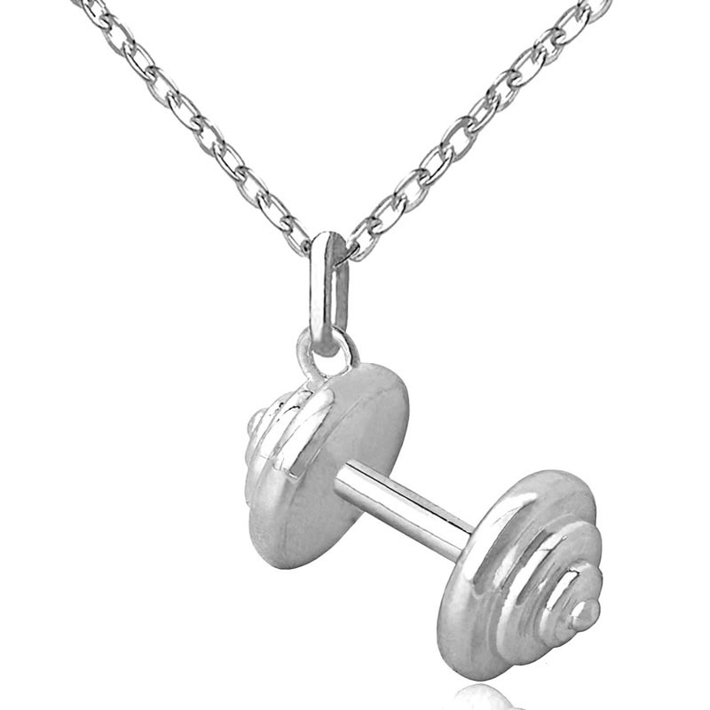 Barbell Pendant Tiny Necklaces for Women Sporty Jewelry Fashion Cloth Accessories Fashion Fitness Gifts Gym Jewelry