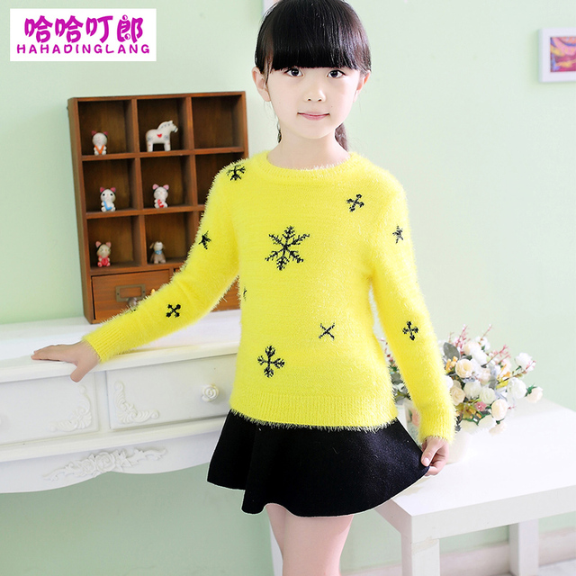 Kids Winter Sweater Girls Knitted Sweater,New Arrival 2015 Autumn Girl Pullovers Thicken Mohair Sweaters,Children Sweaters