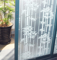 45/60*200cm Opaque Self-adhesive Frosted Privacy Glass Window Film Decorative Window Stickers White Bamboo Bedroom ST023