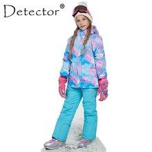 Detector/зимняя ветрозащитная лыжная куртка для девочек и штаны, комплект верхней одежды для детей, детские зимние комплекты теплый лыжный костюм для мальчиков и девочек