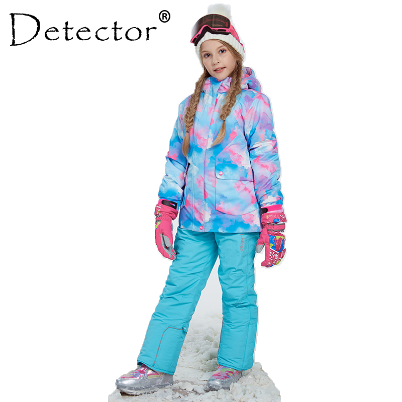 Detector Girl Winter Windproof Ski Jacket and Pant Outdoor Children Clothing Set Kids Snow Sets Warm Skiing Suit For Boys Girls detector girls ski set children waterproof windproof clothing kids ski set winter warm snowboard outdoor girl ski jacket