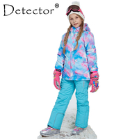 Detector Girl Winter Windproof Ski Jacket and Pant Outdoor Children Clothing Set Kids Snow Sets Warm Skiing Suit For Boys Girls