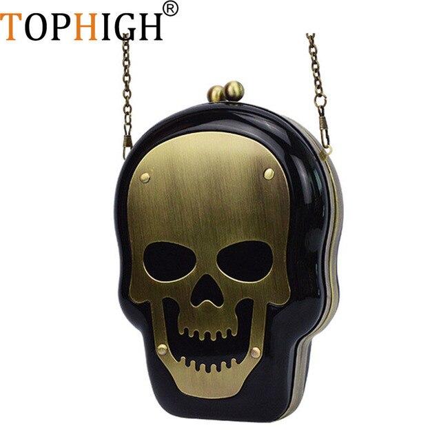 TOPHIGH kobiety torebki wieczorowe czaszki torba przejrzyste opakowanie akrylowe plastikowe kobiety sprzęgło torby na ramię z łańcuchem bolsa feminina M188