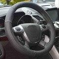 Rodas de direcção do carro do couro genuíno tampa de direcção do carro de corrida Da Marca capas para 37-38 CM tampa da roda de carro auto acessórios interiores