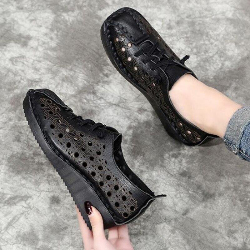 Fait à la main 100% naturel complet en cuir véritable sandales d'été femmes sandales 2019 nouveau à lacets trou chaussures femme sandales chaussures de mode - 4