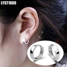 LYST1000 Jewelry Wholesale Fashion 925 Sterling Silver Earrings  For Women &Men Smooth Hoop Earrings Ear Clip Rock