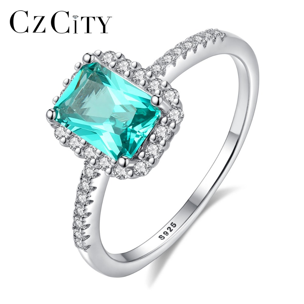 CZCITY New Design High-quality Pure 925 Sterling Silver Wedding Rings For Women Classic Green Rectangle Bague Femme Fine Jewelry