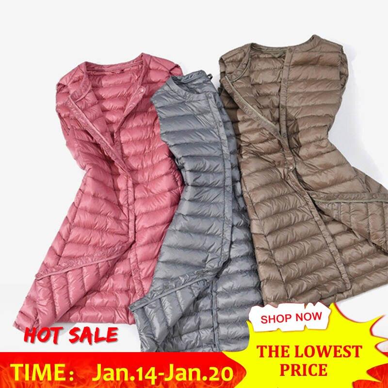 Herbst Winter Ultra Licht Unten Weste Frauen Winddicht Leichte Lange Weste Warme Mode Weibliche Weste Plus Größe
