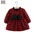 HE Hello Enjoy Baby Girls Dress Red First Birthday Dress For Girl Baby Clothes Long Sleeve Plaid Bow Princess Dress Wedding 2019