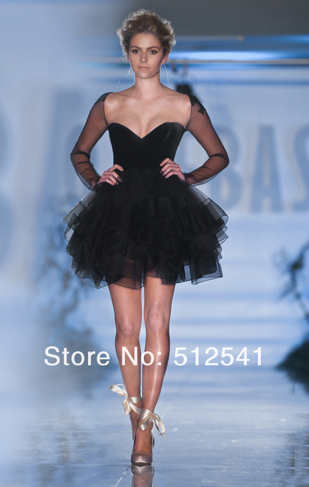 Black Long Sleeve Homecoming Dresses Aplique Ruffle Mini Short Fashion Women idodress 22 (4).jpg