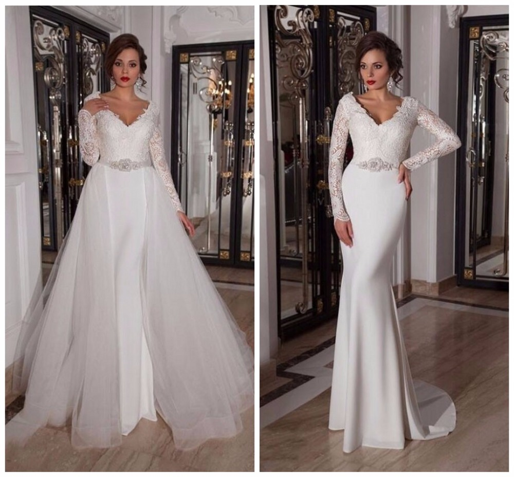 2 Em 1 Removable Court Train Mermaid Wedding Dresses 2017 Two Piece ...