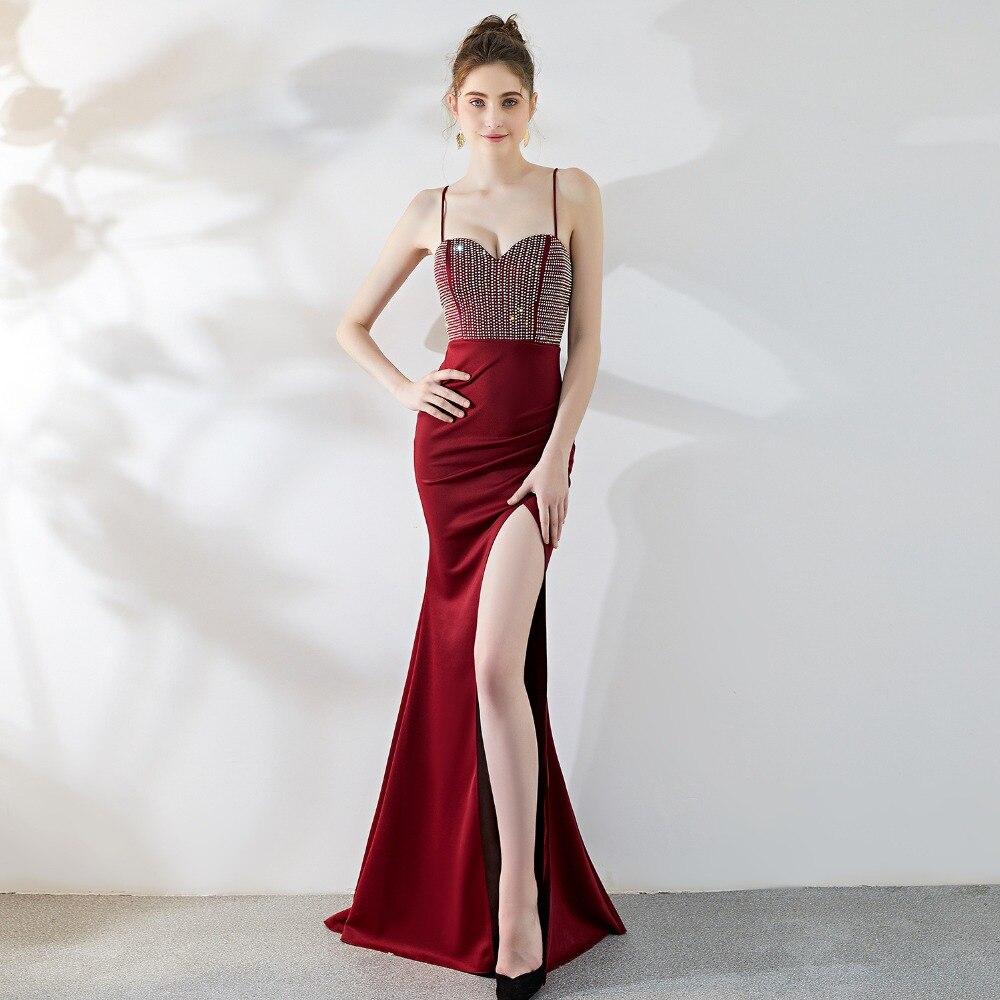 Sladuo femmes robe de soirée élégante sangles diamant col en V sirène Sexy fente Club robes de nuit