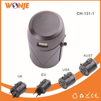 WONJE CH 131 Universal Charger Multi Function Conversion Socket 1 USB Plug Travel Portable Adapter For